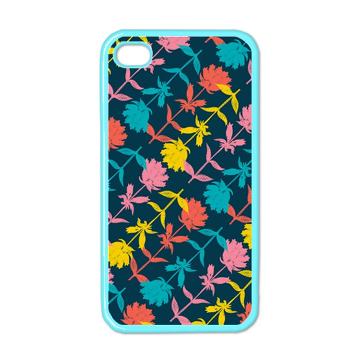 Colorful Floral Pattern Apple iPhone 4 Case (Color)