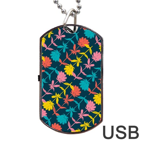 Colorful Floral Pattern Dog Tag USB Flash (One Side)