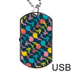 Colorful Floral Pattern Dog Tag USB Flash (Two Sides)  Front