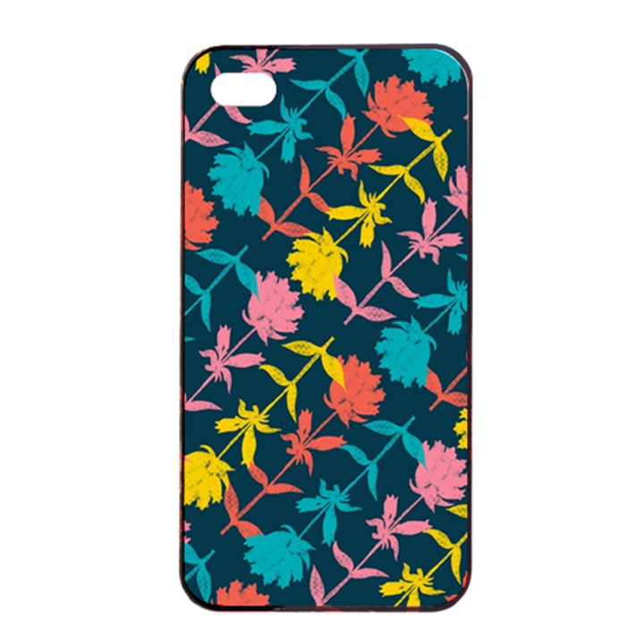 Colorful Floral Pattern Apple iPhone 4/4s Seamless Case (Black)