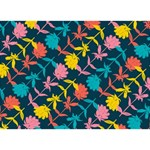 Colorful Floral Pattern LOVE 3D Greeting Card (7x5) Back