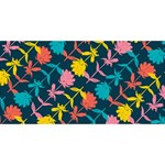 Colorful Floral Pattern Twin Heart Bottom 3D Greeting Card (8x4) Back
