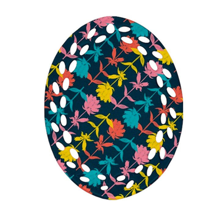Colorful Floral Pattern Oval Filigree Ornament (2-Side)