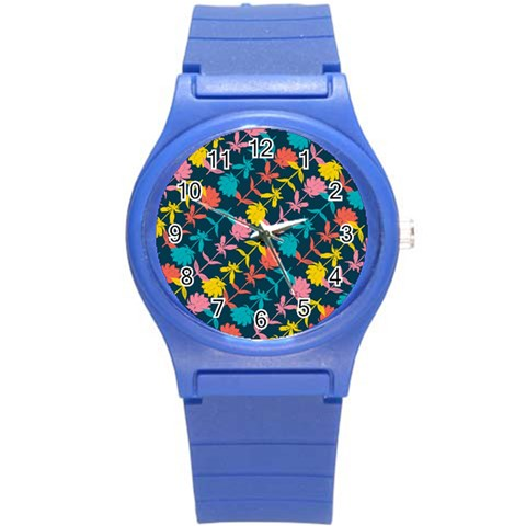 Colorful Floral Pattern Round Plastic Sport Watch (S)