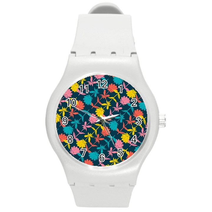 Colorful Floral Pattern Round Plastic Sport Watch (M)