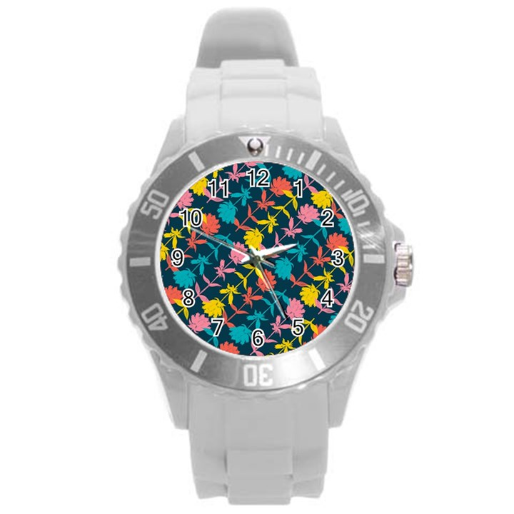 Colorful Floral Pattern Round Plastic Sport Watch (L)