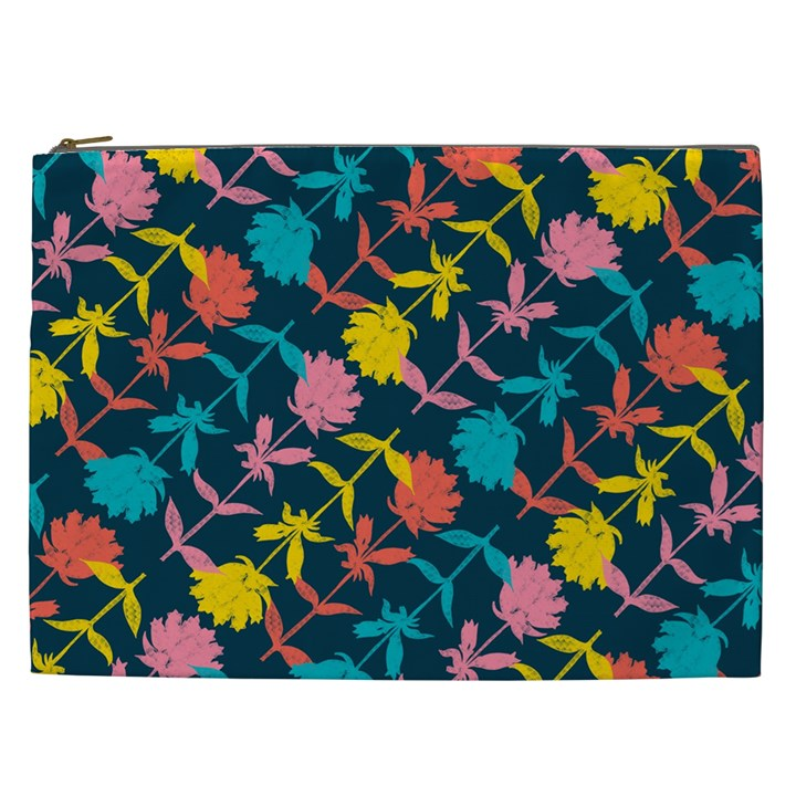 Colorful Floral Pattern Cosmetic Bag (XXL)