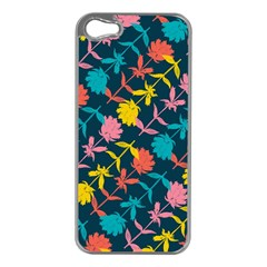 Colorful Floral Pattern Apple Iphone 5 Case (silver)