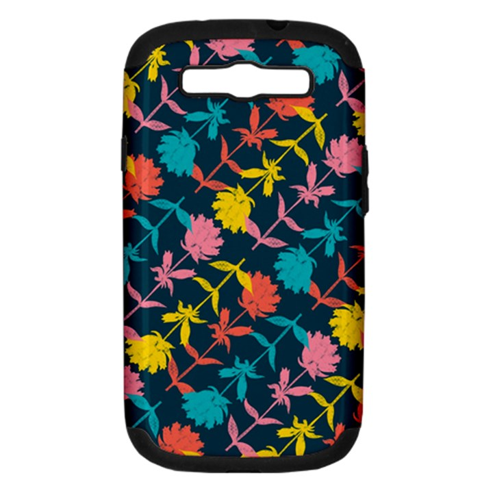 Colorful Floral Pattern Samsung Galaxy S III Hardshell Case (PC+Silicone)
