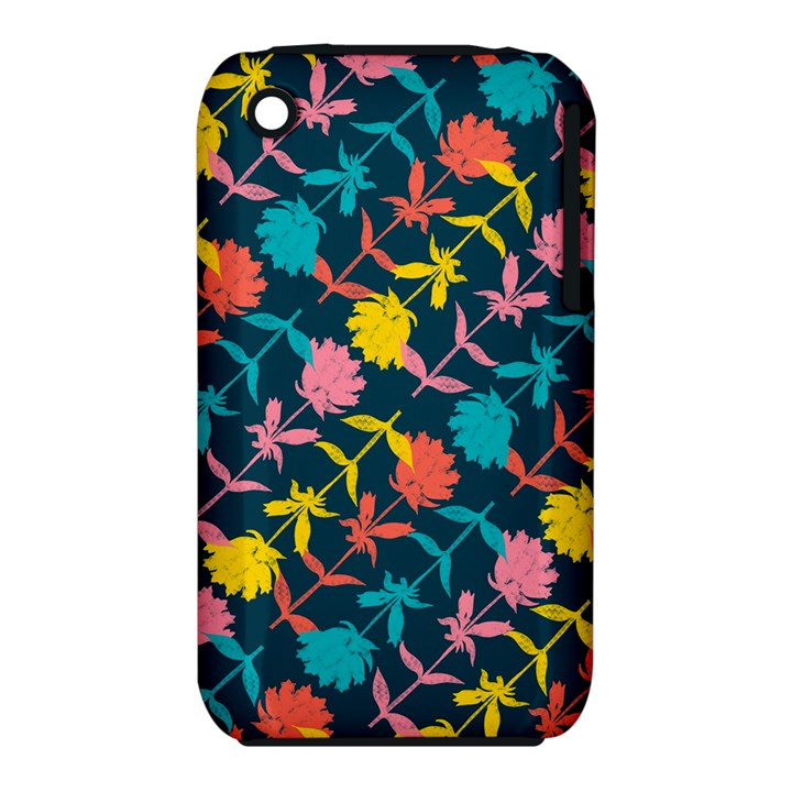 Colorful Floral Pattern Apple iPhone 3G/3GS Hardshell Case (PC+Silicone)