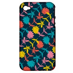Colorful Floral Pattern Apple iPhone 4/4S Hardshell Case (PC+Silicone)