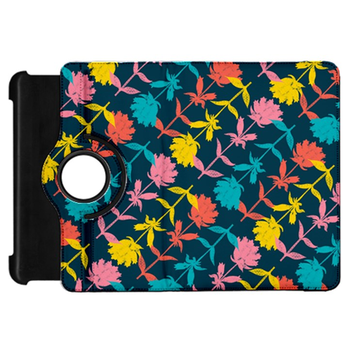 Colorful Floral Pattern Kindle Fire HD Flip 360 Case
