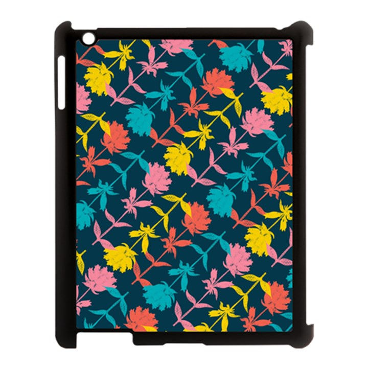 Colorful Floral Pattern Apple iPad 3/4 Case (Black)