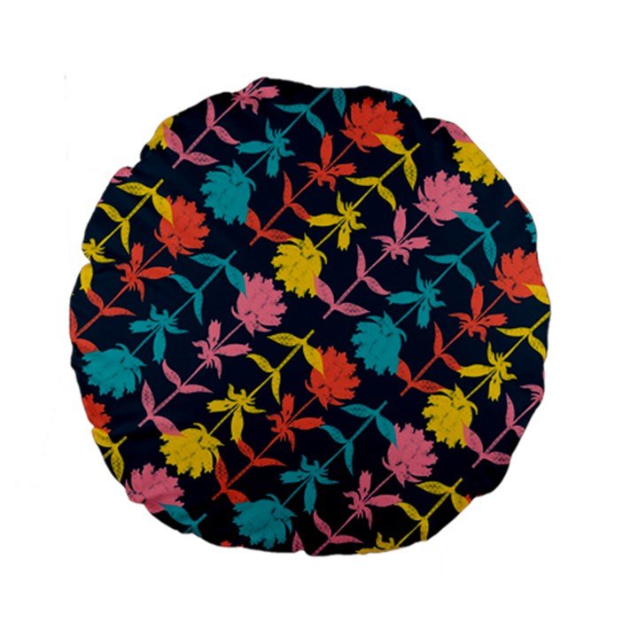 Colorful Floral Pattern Standard 15  Premium Round Cushions