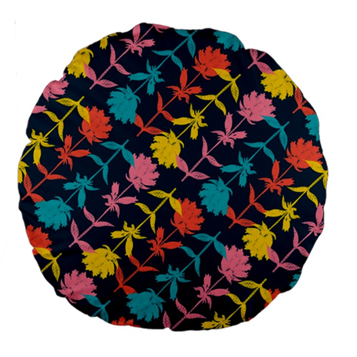 Colorful Floral Pattern Large 18  Premium Round Cushions