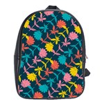Colorful Floral Pattern School Bags (XL)  Front