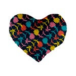 Colorful Floral Pattern Standard 16  Premium Heart Shape Cushions Front
