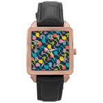 Colorful Floral Pattern Rose Gold Leather Watch  Front
