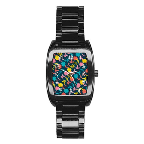 Colorful Floral Pattern Stainless Steel Barrel Watch