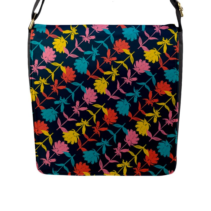 Colorful Floral Pattern Flap Messenger Bag (L)