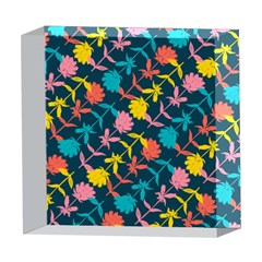 Colorful Floral Pattern 5  x 5  Acrylic Photo Blocks