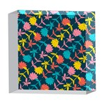 Colorful Floral Pattern 5  x 5  Acrylic Photo Blocks Front