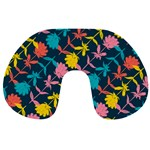 Colorful Floral Pattern Travel Neck Pillows Back