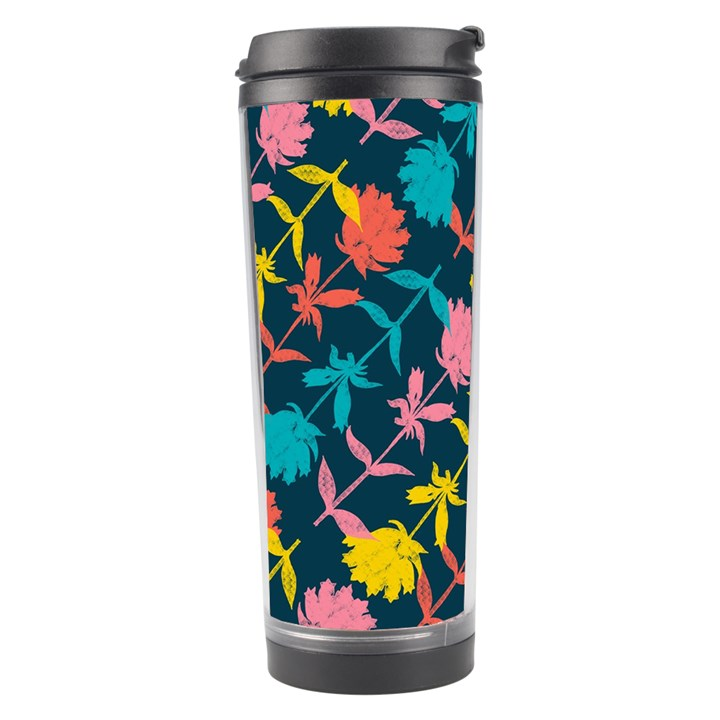 Colorful Floral Pattern Travel Tumbler