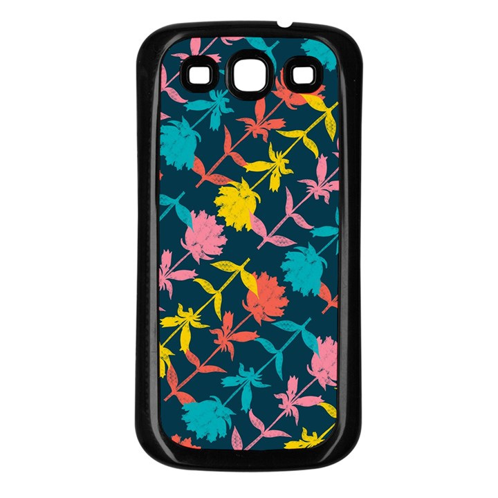 Colorful Floral Pattern Samsung Galaxy S3 Back Case (Black)