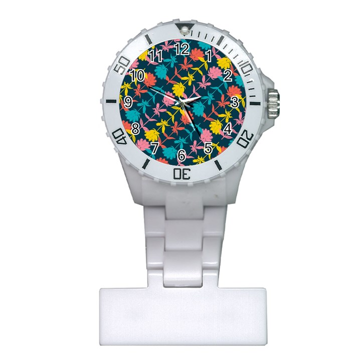 Colorful Floral Pattern Plastic Nurses Watch