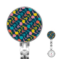 Colorful Floral Pattern Stainless Steel Nurses Watch