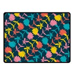 Colorful Floral Pattern Double Sided Fleece Blanket (Small)  50 x40 Blanket Back