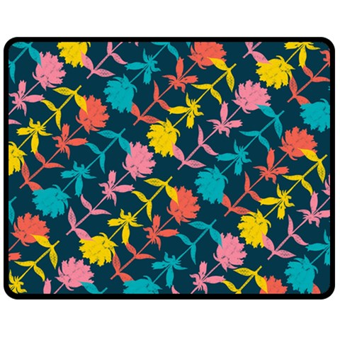 Colorful Floral Pattern Double Sided Fleece Blanket (Medium)