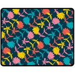 Colorful Floral Pattern Double Sided Fleece Blanket (Medium)  60 x50 Blanket Front