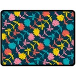 Colorful Floral Pattern Double Sided Fleece Blanket (Large)  80 x60 Blanket Front