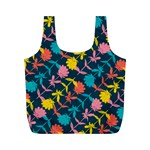 Colorful Floral Pattern Full Print Recycle Bags (M)  Back