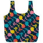 Colorful Floral Pattern Full Print Recycle Bags (L)  Front