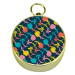 Colorful Floral Pattern Gold Compasses Front