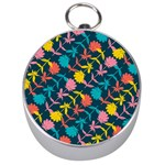 Colorful Floral Pattern Silver Compasses Front