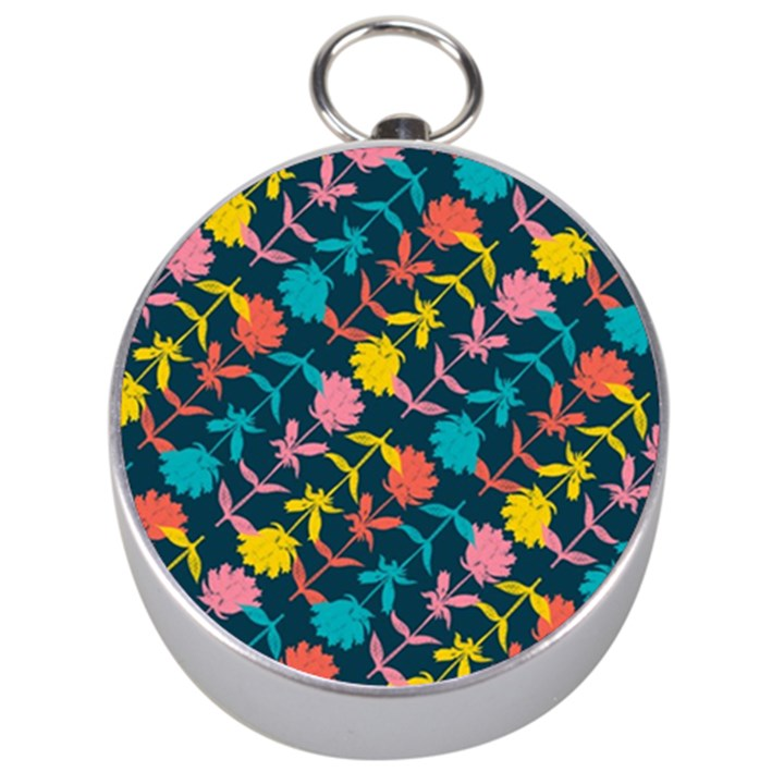 Colorful Floral Pattern Silver Compasses