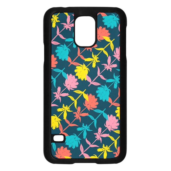 Colorful Floral Pattern Samsung Galaxy S5 Case (Black)