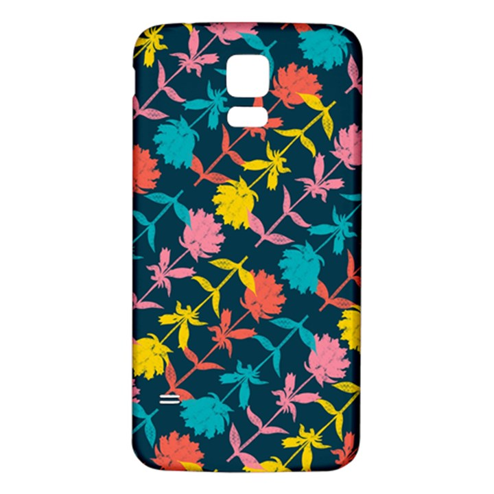 Colorful Floral Pattern Samsung Galaxy S5 Back Case (White)