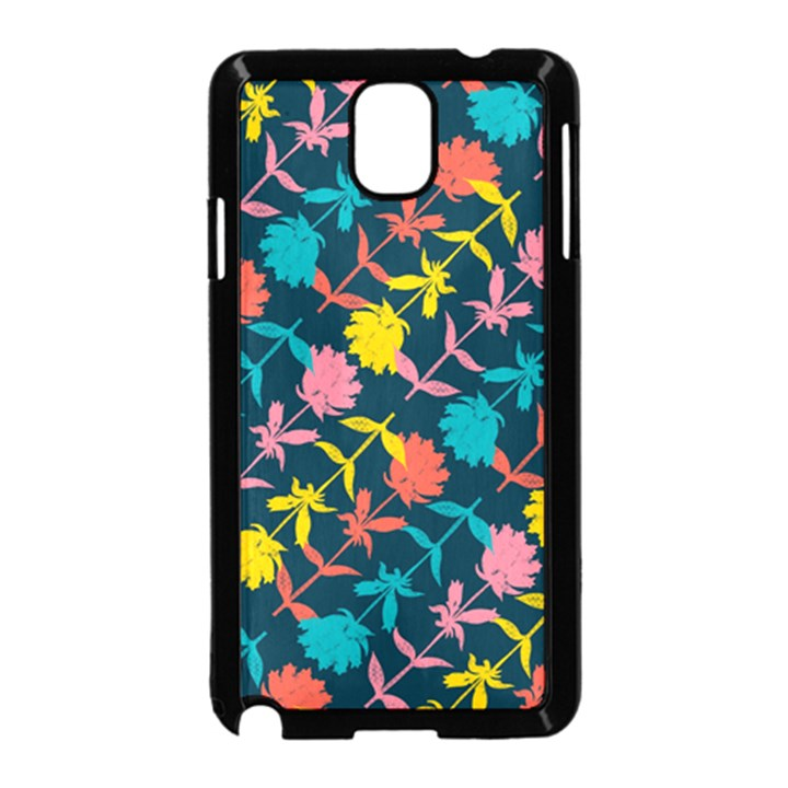 Colorful Floral Pattern Samsung Galaxy Note 3 Neo Hardshell Case (Black)