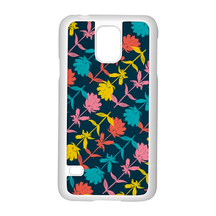 Colorful Floral Pattern Samsung Galaxy S5 Case (White)