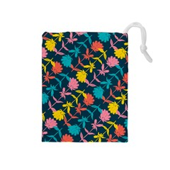 Colorful Floral Pattern Drawstring Pouches (Medium)