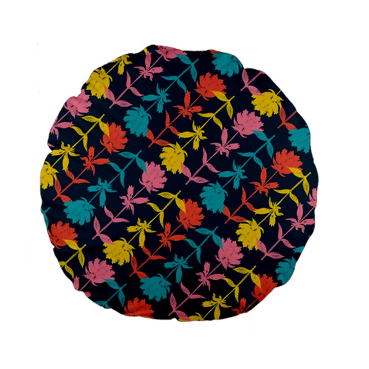 Colorful Floral Pattern Standard 15  Premium Flano Round Cushions