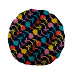 Colorful Floral Pattern Standard 15  Premium Flano Round Cushions Back