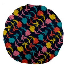 Colorful Floral Pattern Large 18  Premium Flano Round Cushions