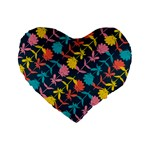 Colorful Floral Pattern Standard 16  Premium Flano Heart Shape Cushions Front