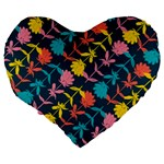 Colorful Floral Pattern Large 19  Premium Flano Heart Shape Cushions Back